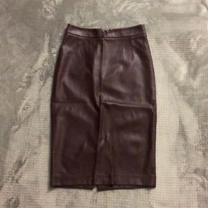 Burgundy Pencil Skirt Faux Leather